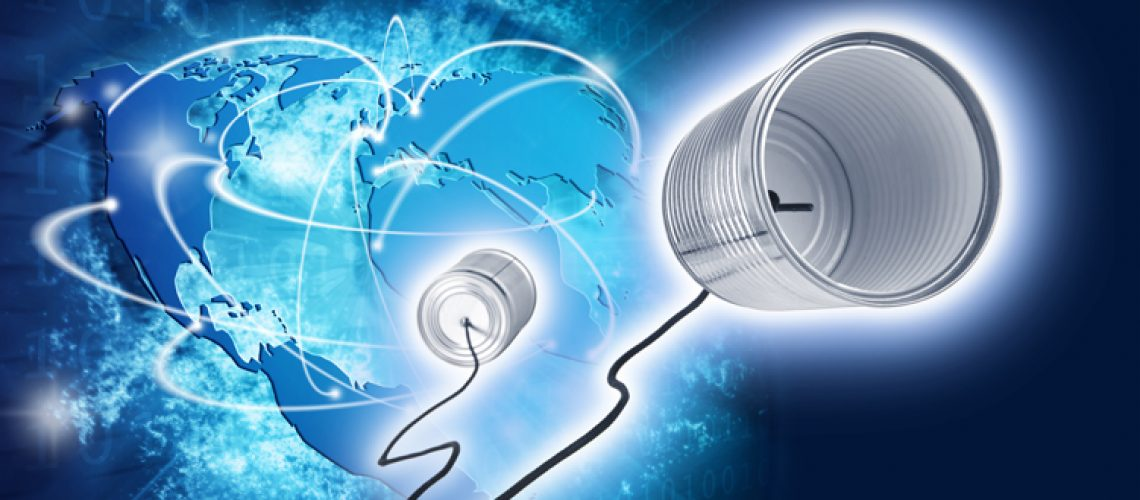 Blue vivid image of globe and space tin can. Internet Concept of global business